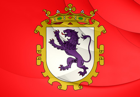 leon: Flag of Leon City, Spain. Close Up.