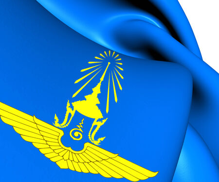 force of the wind: Royal Thai Air Force Flag. Close Up.    Stock Photo