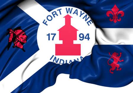fort: Flag of Fort Wayne, USA. Close Up.