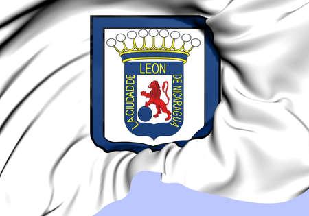 leon: Flag of Leon, Nicaragua. Close Up. Stock Photo