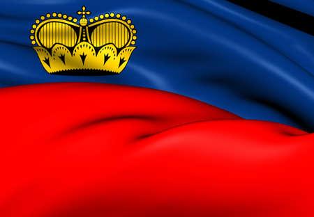 liechtenstein: Flag of Liechtenstein. Close Up.