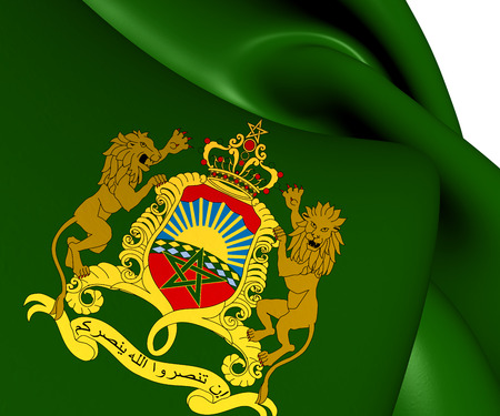 northern african: Royal Standard of Morocco. Close Up.