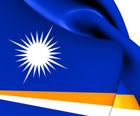 marshall: Republic of the Marshall Islands Flag. Close Up.