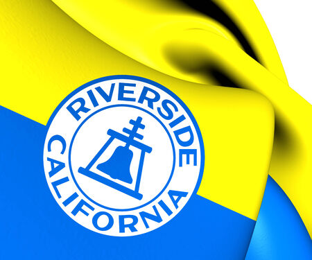 riverside: Flag of Riverside, USA. Close Up.    Stock Photo