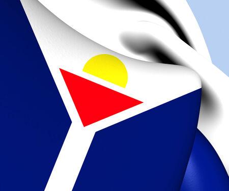 martin: Flag of Saint Martin. Close Up. Stock Photo