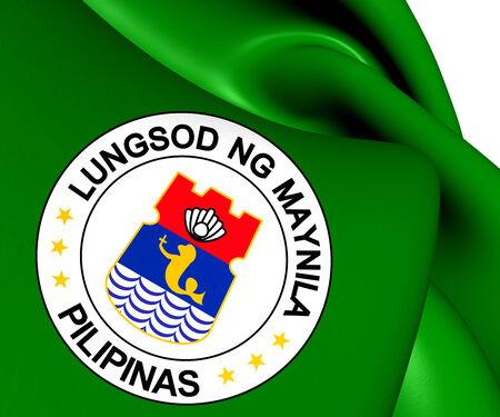 manila: Flag of Manila, Philippines. Close Up.