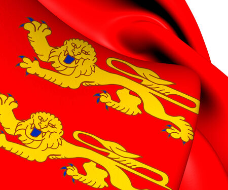 basse normandy: Flag of Lower Normandy, France. Close Up. Stock Photo