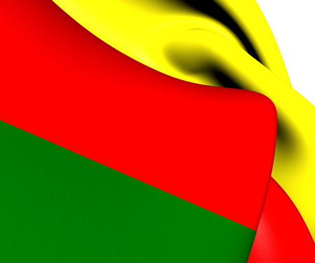 Flag of Humacao, Puerto Rico. Close Up.   Stock Photo