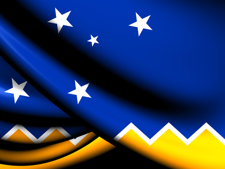 chilean: Flag of Magallanes and Antartica Chilena Region. Close Up.