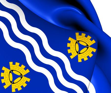 merseyside: Bandiera del Merseyside, in Inghilterra. Avvicinamento.