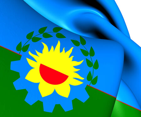 aires: Buenos Aires Province Flag, Argentina. Close Up.