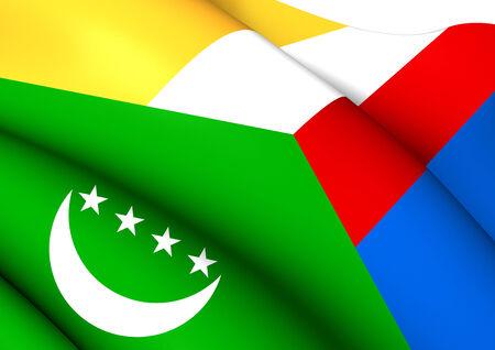 comoros: Flag of Comoros. Close Up. Stock Photo