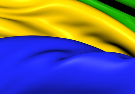 gabon: Flag of Gabon. Close Up.
