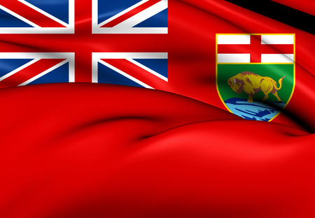manitoba: Flag of Manitoba, Canada. Close Up.