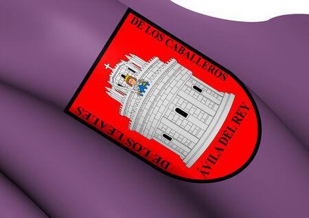 avila: Flag of Avila City, Spain. Close Up.