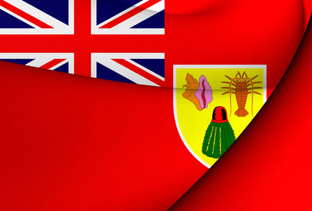 ensign: Civil Ensign of Turks and Caicos Islands. Close Up.