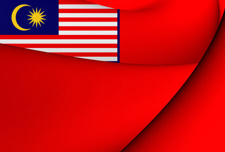 ensign: Civil Ensign of Malaysia. Close Up.    Stock Photo