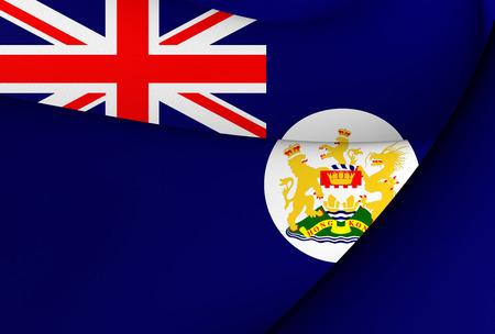 Flag of Hong Kong (1959-1997). Close Up.   Фото со стока