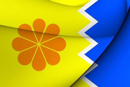 commune: Flag of Vina Del Mar, Chile. Close Up.