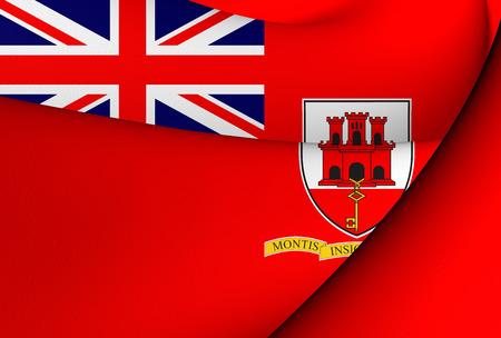 ensign: Civil Ensign of Gibraltar. Close Up.