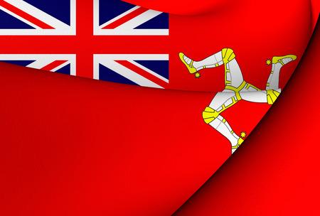 ensign: Isle of Man Civil Ensign. Close Up.