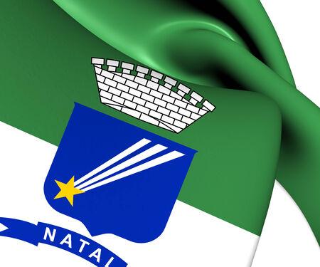 natal: Flag of Natal, Brazil. Close Up. Stock Photo