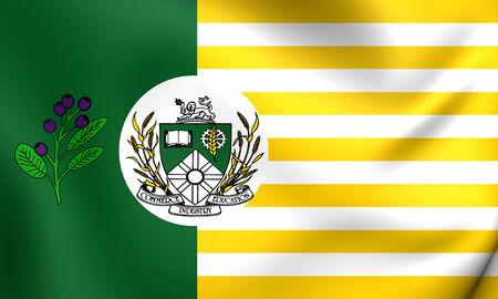 regina: Flag of Saskatoon, Canada. Close Up. Stock Photo