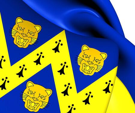 Flag of Shropshire, England. Close Up.    photo