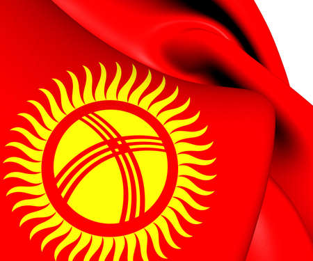 kirgizia: Flag of Kyrgyzstan. Close Up. Stock Photo