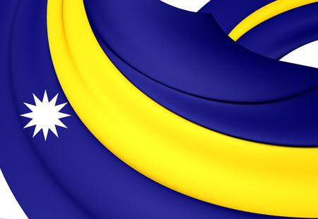 micronesia: Flag of Nauru. Close Up.