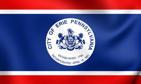 Flag of Erie, USA. Close Up.    Stock Photo