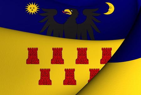 rumanian: Flag of Transylvania (1659-1867). Close Up. Stock Photo