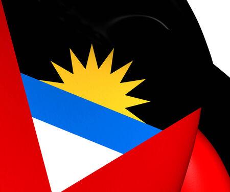 antigua: Flag of Antigua and Barbuda. Close Up.