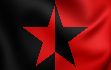 liberation: Flag of EZLN (vertically divided). Close Up.