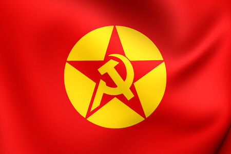 dev: Flag of Revolutionary Peoples Liberation Party-Front (DHKPC). Close Up. Stock Photo
