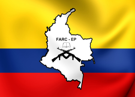 pueblo: Flag of FARC-EP. Close Up. Stock Photo