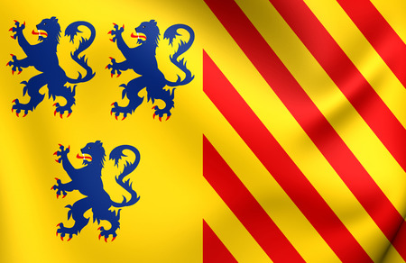 limousin: Alternate Flag of Limousin, France. Close Up.
