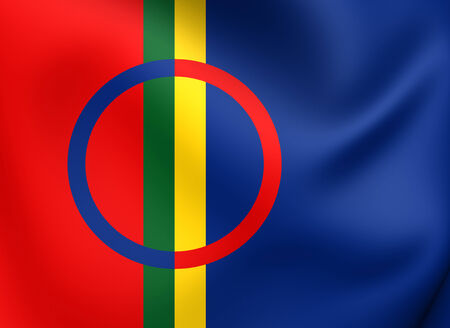 saami: Sami Flag. Close Up. 3D. Stock Photo