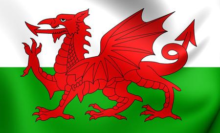 cymru: Flag of Wales. Close Up.