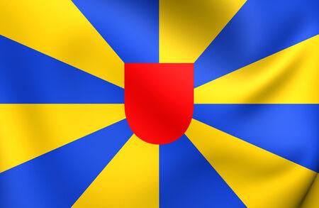 flanders: Flag of West Flanders, Belgium. Close Up.