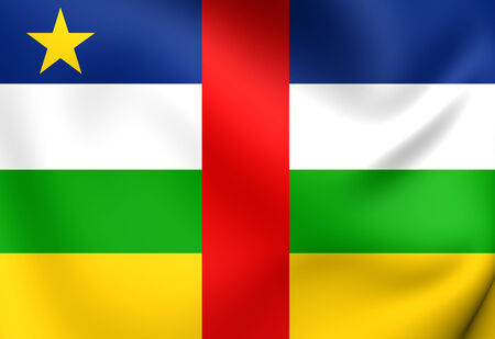 republique: Flag of Central African Republic. Close Up. Stock Photo