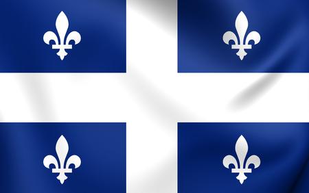Flag of Quebec Province. Close Up.