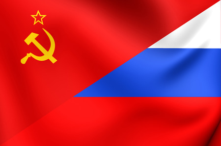 soviet flag: Flag of the Soviet Union and Russia. Close Up. Stock Photo