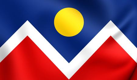 denver: Flag of Denver, USA. Close Up.