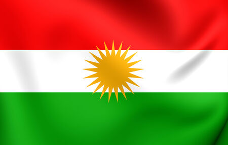national flag: Flag of Kurdistan. Close Up. Stock Photo