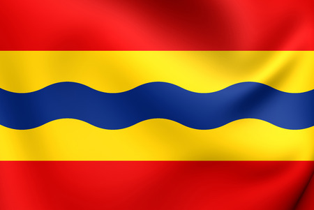 Flag of Overijssel, Netherlands. Close Up. Stock Photo