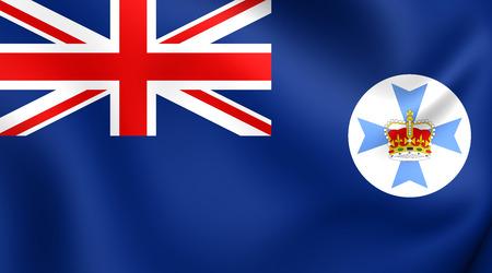 queensland: Flag of Queensland, Australia. Close Up. Stock Photo