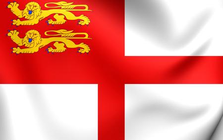 bailiwick: Flag of Sark. Close Up.