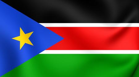 south sudan: Flag of South Sudan. Close Up.