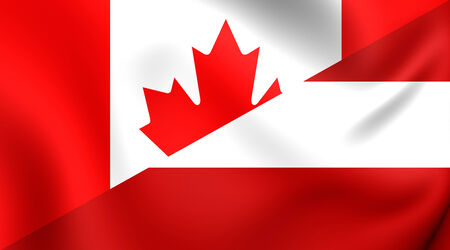 Combined Flag of Canada and Austria. Close Up. photo